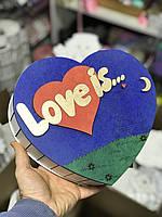 Подарочная коробка сердечко Love is - синего и белого цвета! для подарков и упаковки подарков!