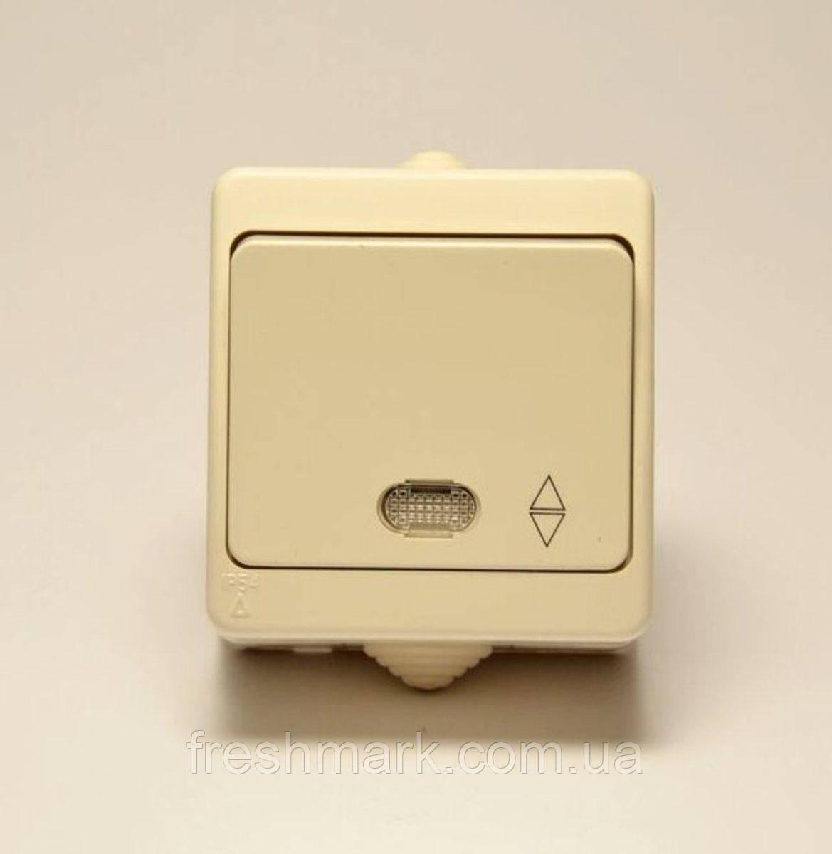 Выключатель одноклавишный GUNSAN Nemliyer проходной с подсветкой влагозащищенный Кремовый