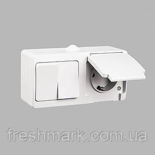 Блок выключатель двухклавишный + розетка с заземлением GUNSAN Nemliyer влагозащищенный Серый
