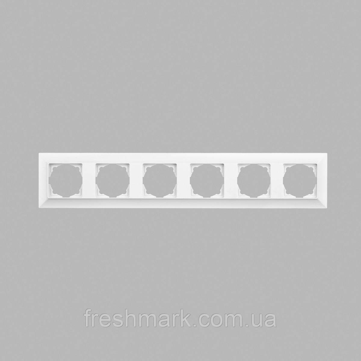 Рамка шестерная GUNSAN Neoline Белый