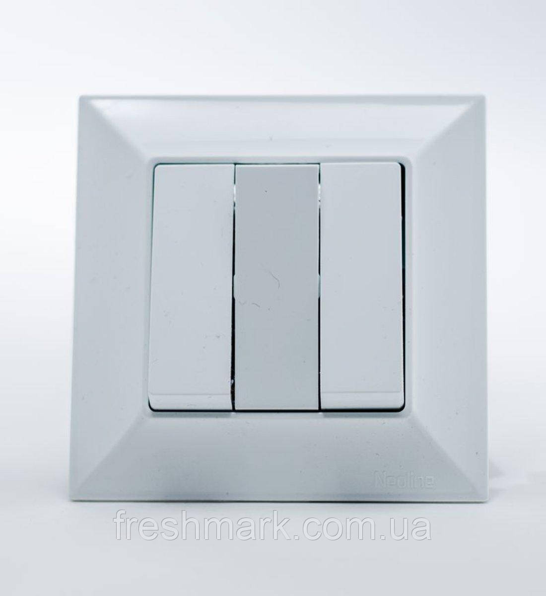 Выключатель трехклавишный  GUNSAN Neoline Белый