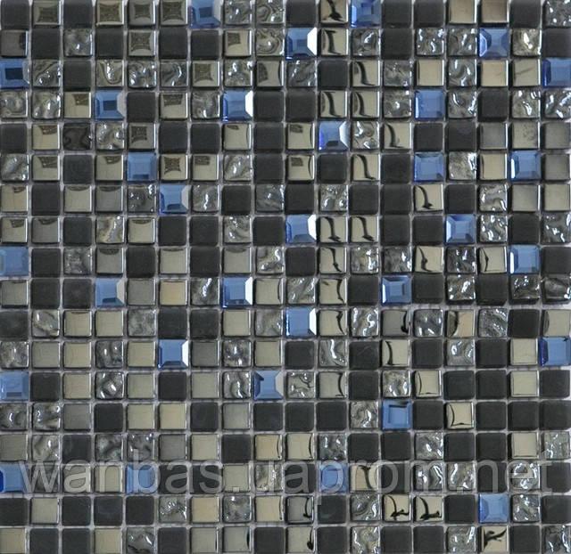 Микс из стеклянной плитки мозаики с мрамором DAF 10
