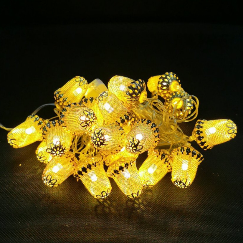 Новогодняя гирлянда золотые жёлуди внутренняя 20 led