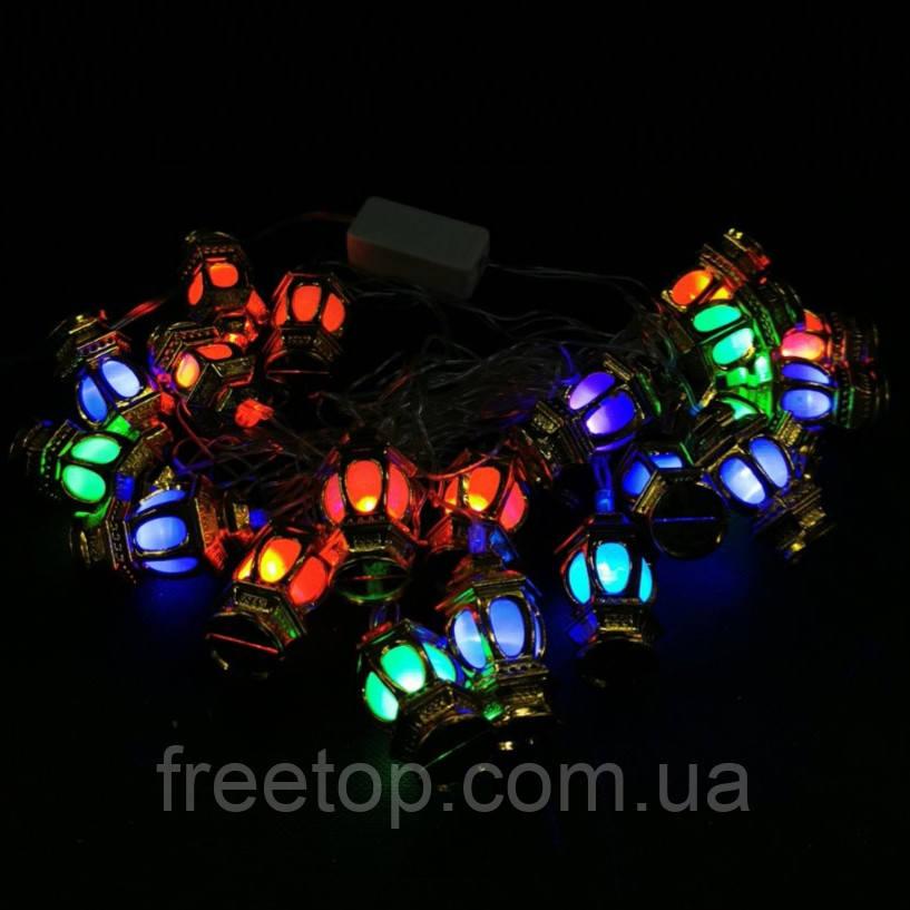 Новогодняя гирлянда фонарики внутренняя 20 led (маленькие)