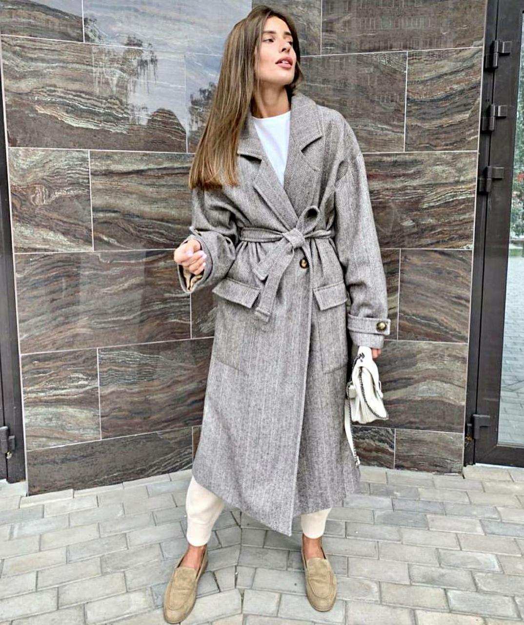 Женское Пальто серое на запах под пояс длиной ниже колен из полушерсти (р. 42 - 46) 37pt162