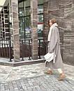 Женское Пальто серое на запах под пояс длиной ниже колен из полушерсти (р. 42 - 46) 37pt162, фото 5