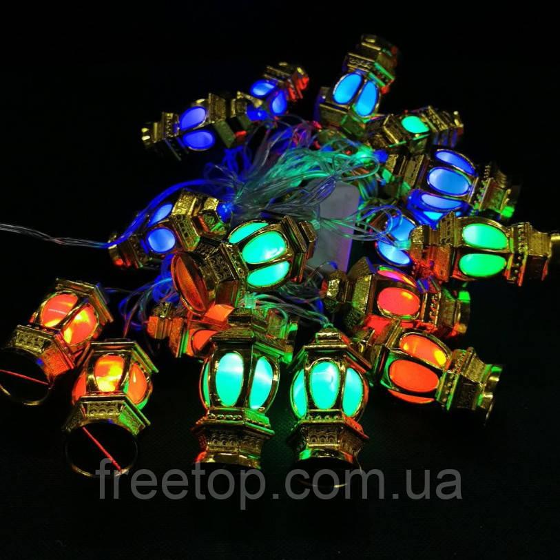 Новогодняя гирлянда фонарики внутренняя 20 led (Большие)