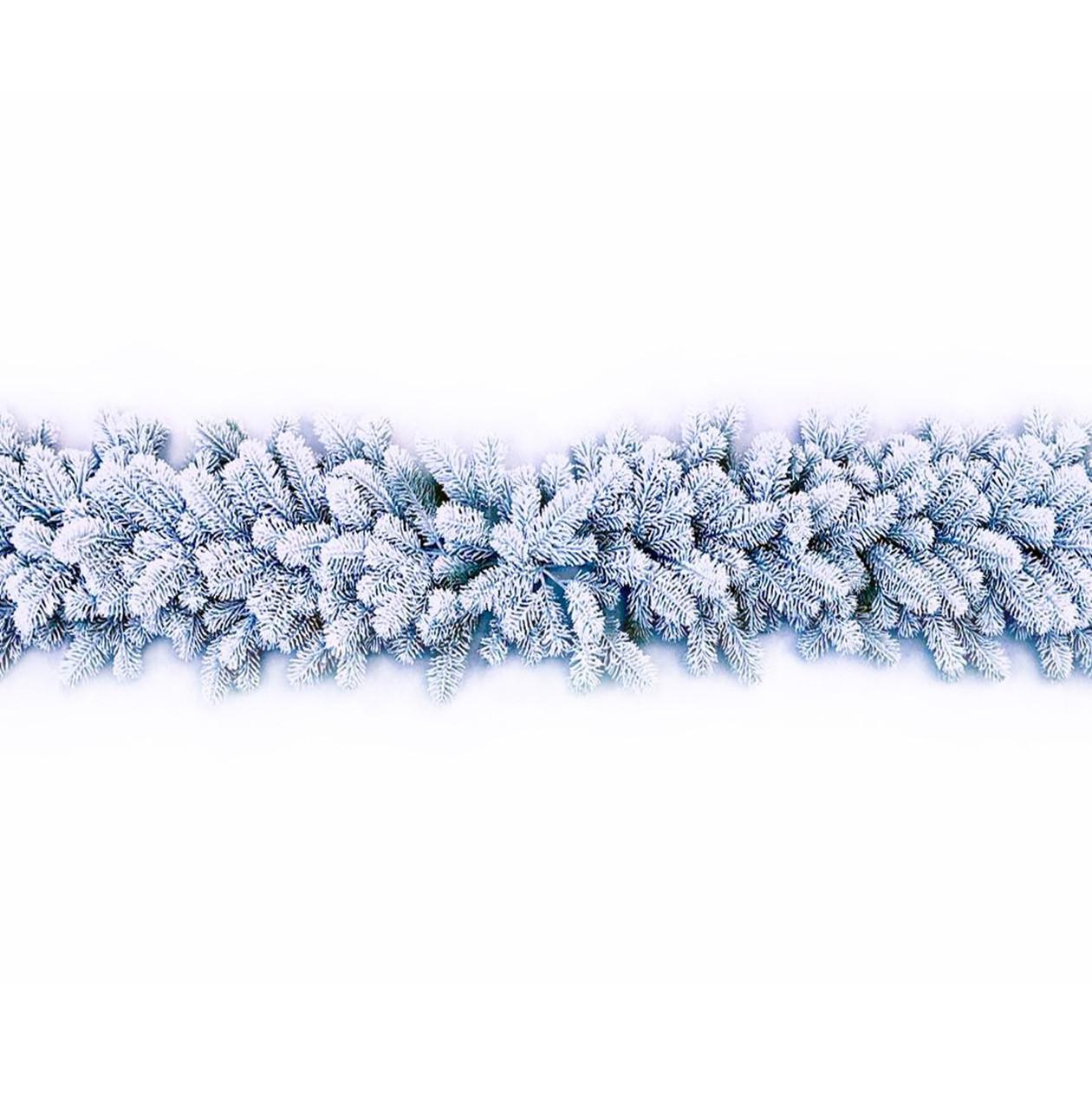 Гирлянда хвойная литая заснеженная 220 см, Ø 30 см
