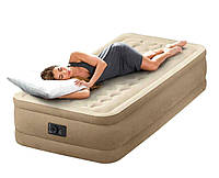 Надувная кровать Intex 64426 (127х193х24 см) односпальная встроенный насос Бежевая | Надувне ліжко Інтекс
