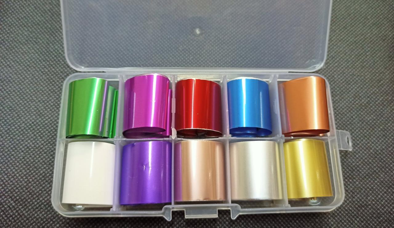 Маникюрный набор для дизайна ногтей Набор переводной фольги в пластиковом боксе Переводная Фольга для Маникюра
