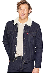 Зимняя джинсовая курткаLevis Sherpa Trucker Jacket- Juniper Rinse