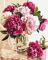 Картина по номерам Нежные пионы в стеклянной вазе