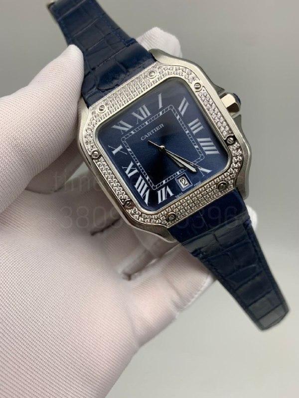 Наручные часы Картье Сантос дэ Картье Даймондс Люкс копия