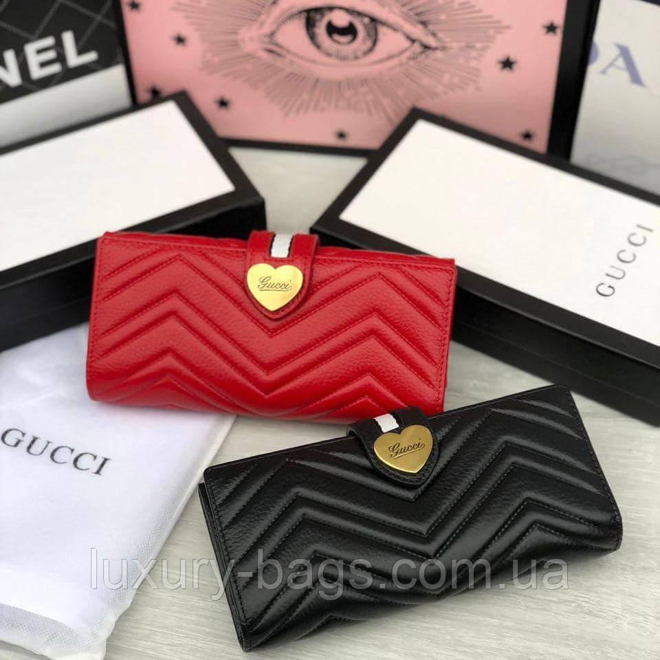 Жіночий шкіряний брендовий гаманець червоний чорний