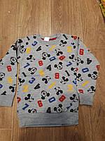 Батник, теплий дитячий для хлопчика на флісі під гумку Міккі розмір 5-9 років, світло-сірого кольору