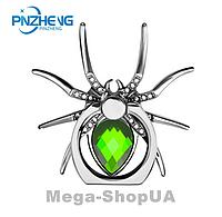 """Кольцо держатель металлическое для телефона """"Spider Green"""" 360 градусов. Подставка для смартфона"""
