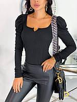 Модная женская приталенная кофта из черного трикотажа рубчик ЕФ/-12609