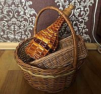 Набор новогодний: корзина плетеная, бутылка из лозы, хлебница плетеная, фото 1