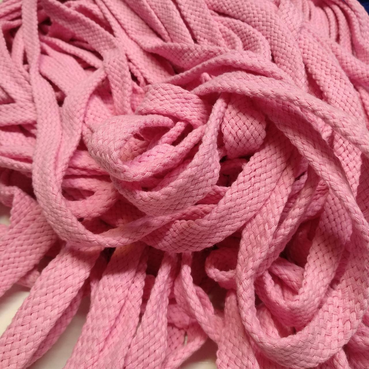Шнур тексильный плоский, рожевий, 16мм.