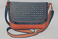 Женская сумка с блочками с оранжевой рогожкой, фото 1