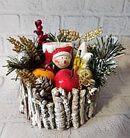 Новогодняя настольная композиция на спиле дерева со снеговиком Подарок на день св. Николая Новый год Рождество