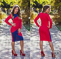 Красное платье с синей вставкой 152037