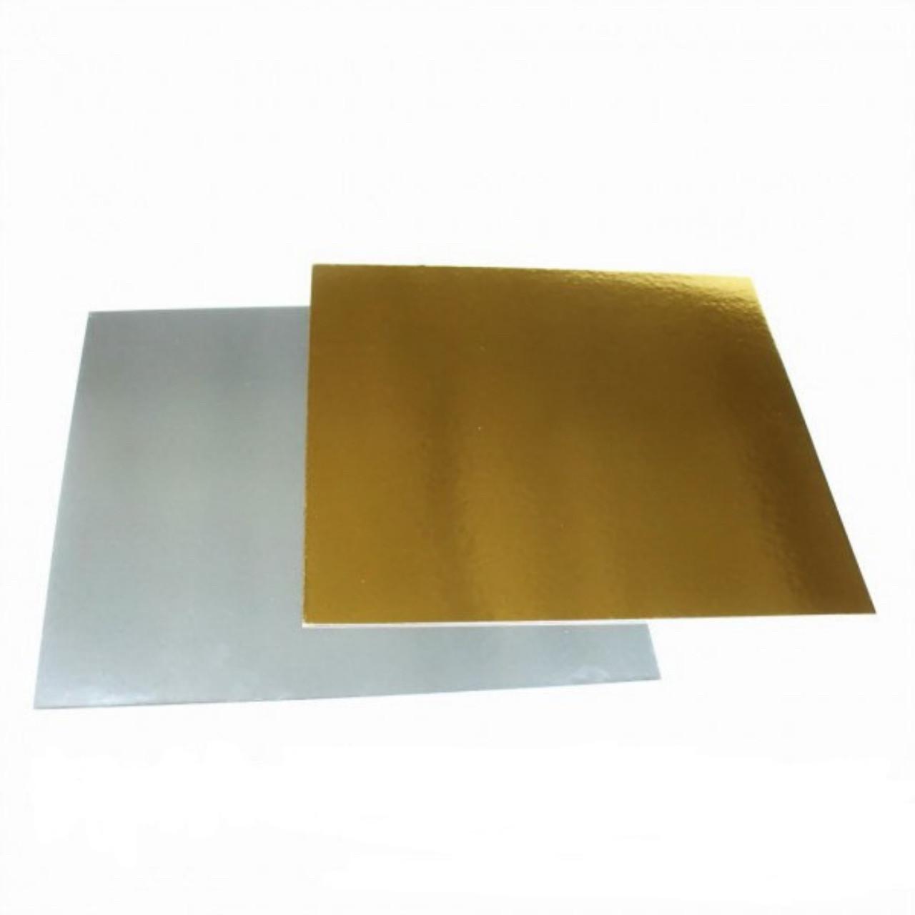 Подложка под торт 390х390 мм, золото/серебро - 1 мм