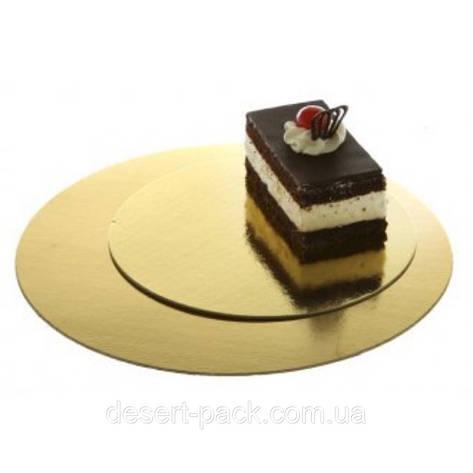 Подложка под торт ∅-360 мм, золото/серебро - 1 мм, фото 2