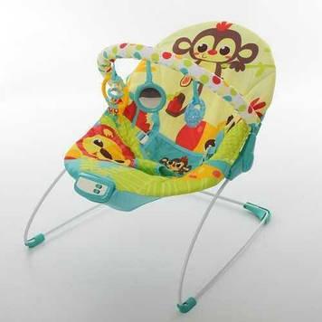 Детский шезлонг-качалка  5 мелодий, вибрация, игрушки Музыкальный шезлонг для ребенка
