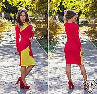 Красное платье с желтой вставкой 152037