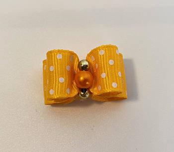 Двухъярусный бантик для собак желтый в белый горошек, 3,5 см