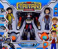 """Робот трансформер """"Тобот Тритан / Tobot Tritan"""", с героями и медальонами (свет. и звук. эффекты)"""