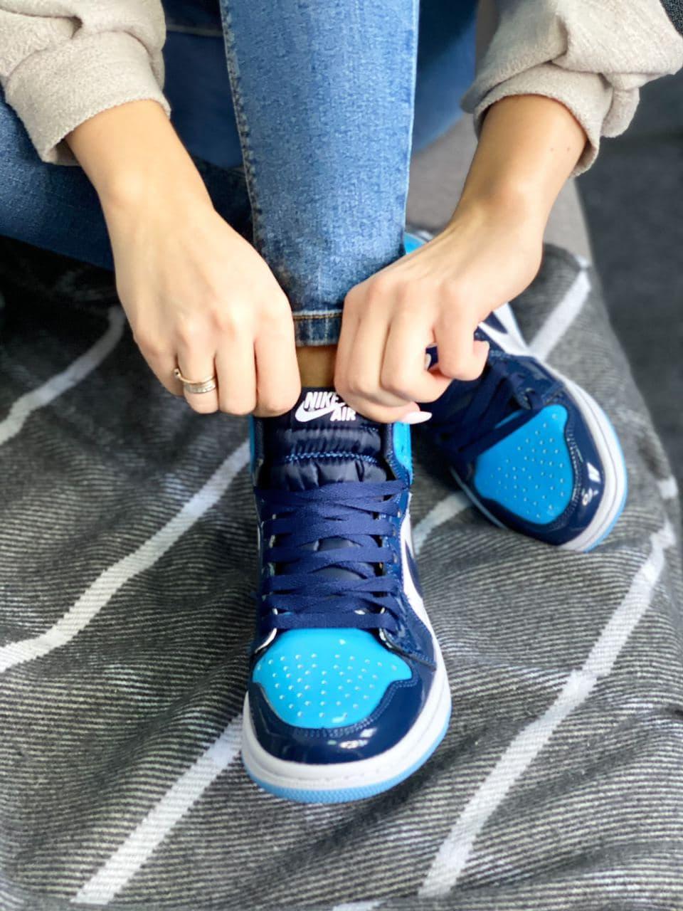 Кроссовки мужские  Air Jordan Retro High Blue Gloss