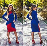 Синее платье с красной вставкой 152037