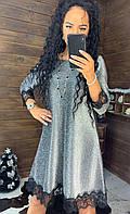 Платье - трапеция из люрекса с отделкой из кружева (р. 42-46) 44plt1888