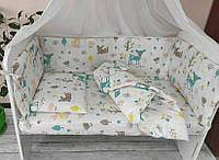 Детский постельный комплект Кроха с балдахином и опорой, 8 элементов