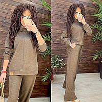 Жіночий брючний костюм з асиметричною кофтою і штани кльош (р. 42-46) 44mko1517, фото 1