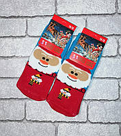 Детские махровые носки Новогодние, разные цвета. Размер 16-18 (4-6 лет)