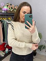 Теплый вязаный свитер однотонный с рюшами на плечах (р. 42-46) 33dmde1051, фото 1