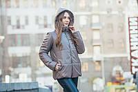 Короткая кожаная зимняя куртка фасона оверсайз с капюшоном (р.р 42 - 48) 45mku535, фото 1