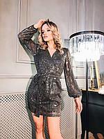 Коктейльное короткое платье из сетки с пайеткой с имитацией запаха и рукавами фонариками (р. S-M) 36mpl1835, фото 1