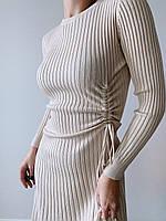 Вязаное платье в рубчик с завясками по бокам, длиной миди (р. 42-46) 77mpl1836, фото 1