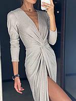 Люрексовое платье с имитацией запаха и укороченным рукавом (р. S, M L) 83mpl1847, фото 1