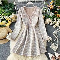 Вязаное платье с расклешенной юбкой в принт гусиная лапка (р. 42-44) 68mpl1853, фото 1