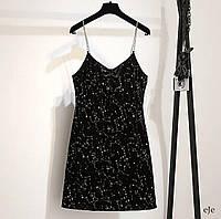 Короткое черное платье майка из бархата с блестками на бретелях - цепочках (р.42-44) 78mpl1860, фото 1