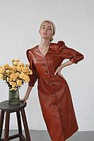 Пряме шкіряне плаття з рукавами-ліхтариками 3/4 і V-подібним вирізом (р. 42, 44) 60mpl1869, фото 1
