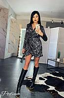 Короткое коктельное платье из пайетки на бархате на запах под пояс (р.42-44) 80mpl1873, фото 1