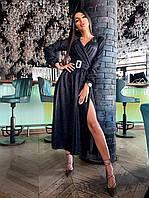 Платье миди из голографического трикотажа с поясом и длинным рукавом (р. S-М) 66mpl1855Е, фото 1