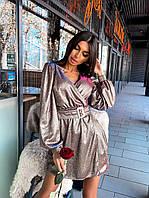 Короткое платье из голографического трикотажа с поясом и верхом на запах(р. S, М) 66mpl1886Е, фото 1