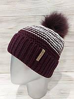 Зимняя шапка женская вязаная двухцветная, внутри на флисе, натуральный бубон из песца 12mgo300, фото 1